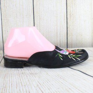 GOLDEN MICKEY Satin Embroidered Bird Shoes Size 7